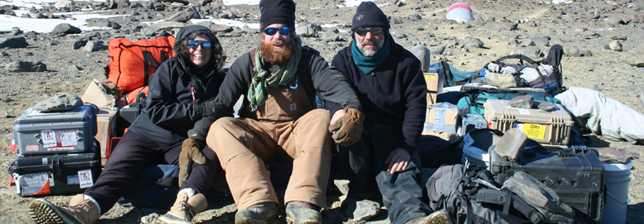 After close to four months on the Ice, and 50 days camping in the mountains above the Dry Valleys, the film crew is getting ready to go home, waiting for the helicopter ride back to McMurdo with all the camera equipment, tapes and camping gear. From left to right, director and producer Anne Aghion, sound recordist Richard Fleming, and director of photography Sylvestre Guidi.
