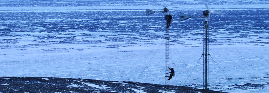 Michiel Lofton and Andrew Asher fixing the wind generators at Black Island, the communications hub for McMurdo station and the South Pole station.